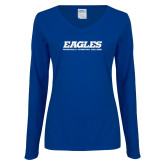 Ladies Royal Long Sleeve V Neck T Shirt-Eagles