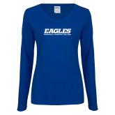 Ladies Royal Long Sleeve V Neck T Shirt-Eagles