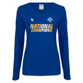 Ladies Royal Long Sleeve V Neck T Shirt-2017 Mens National Champions Soccer