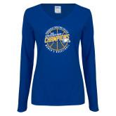 Ladies Royal Long Sleeve V Neck T Shirt-2018 Womens Basketball Champions