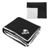 Super Soft Luxurious Black Sherpa Throw Blanket-Eagles