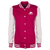 Ladies Pink Raspberry/White Fleece Letterman Jacket-Eagles
