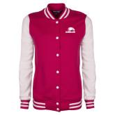 Ladies Pink Raspberry/White Fleece Letterman Jacket-Eagles