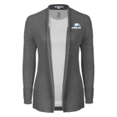 Ladies Heather Grey Open Front Cardigan-Eagles