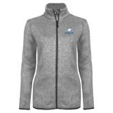 Grey Heather Ladies Fleece Jacket-Eagles