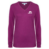 Ladies Deep Berry V Neck Sweater-Eagles