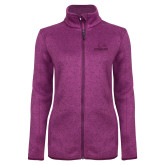 Dark Pink Heather Ladies Fleece Jacket-Eagles