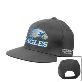 Charcoal Flat Bill Snapback Hat-Eagles