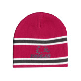 Pink/Charcoal/White Striped Knit Beanie-Eagles