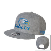 Heather Grey Wool Blend Flat Bill Snapback Hat-Eagles