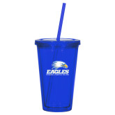 Madison Double Wall Blue Tumbler w/Straw 16oz-Signature Mark