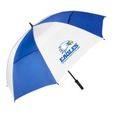 62 Inch Royal/White Vented Umbrella-Signature Mark