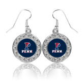 Crystal Studded Round Pendant Silver Dangle Earrings-P Penn Stacked