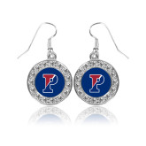 Crystal Studded Round Pendant Silver Dangle Earrings-Split P