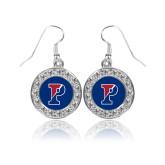 Crystal Studded Round Pendant Silver Dangle Earrings-Split P