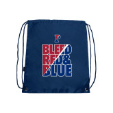 Navy Drawstring Backpack-Bleed Red & Blue