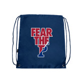 Nylon Navy Drawstring Backpack-Fear The P