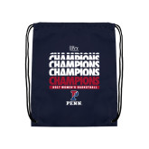Navy Drawstring Backpack-2017 Ivy League Womens Basketball Champions