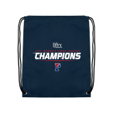 Navy Drawstring Backpack-2017 Womens Cross Country Ivy League Champions