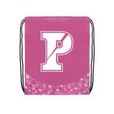 Nylon Pink Bubble Patterned Drawstring Backpack-Split P