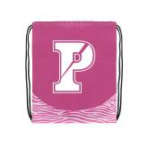 Nylon Zebra Pink/White Patterned Drawstring Backpack-Split P