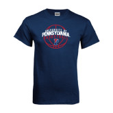 Navy T Shirt-Pennsylvania Basketball in Ball