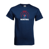 Navy T Shirt-Penn Basketball Stacked w/ Ball