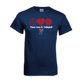 Navy T Shirt-Peace Love & Volleyball