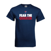 Navy T Shirt-Fear The Quaker