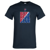 Navy T Shirt-Bleed Red & Blue