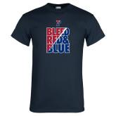 Navy T Shirt-Bleed Red & Blue