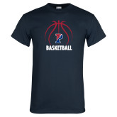 Navy T Shirt-Penn Basketball Under Ball