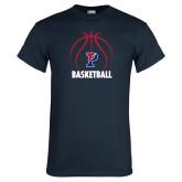Navy T Shirt-Penn Basketball Under Ball