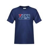 Youth Navy T Shirt-Penn Squash