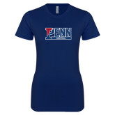 Next Level Ladies SoftStyle Junior Fitted Navy Tee-Penn Basketball