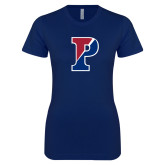 Next Level Ladies SoftStyle Junior Fitted Navy Tee-Split P