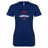 Next Level Ladies SoftStyle Junior Fitted Navy Tee-Penn Football Vertical