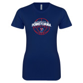 Next Level Ladies SoftStyle Junior Fitted Navy Tee-Pennsylvania Basketball Arched