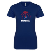 Next Level Ladies SoftStyle Junior Fitted Navy Tee-Penn Basketball Under Ball