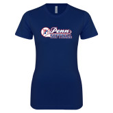 Next Level Ladies SoftStyle Junior Fitted Navy Tee-Penn Softball Script
