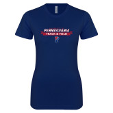 Next Level Ladies SoftStyle Junior Fitted Navy Tee-Pennsylvania Track and Field Banner