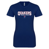 Next Level Ladies SoftStyle Junior Fitted Navy Tee-Quakers Track and Field