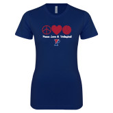 Next Level Ladies SoftStyle Junior Fitted Navy Tee-Peace Love & Volleyball