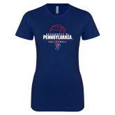 Next Level Ladies SoftStyle Junior Fitted Navy Tee-Pennsylvania Volleyball Half Ball