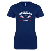 Next Level Ladies SoftStyle Junior Fitted Navy Tee-Pennsylvania Lacrosse Crossed Sticks
