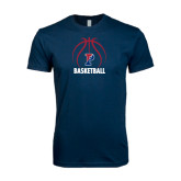 Next Level SoftStyle Navy T Shirt-Penn Basketball Stacked w/ Ball