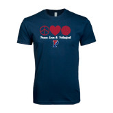 Next Level SoftStyle Navy T Shirt-Peace Love & Volleyball