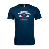 Next Level SoftStyle Navy T Shirt-Lacrosse w/ Crossed Sticks
