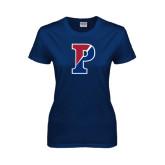 Ladies Navy T Shirt-Split P