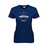 Ladies Navy T Shirt-Pennsylvania Baseball Seams